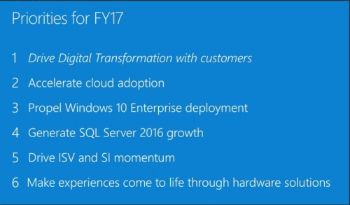 microsoft FY17 priorities