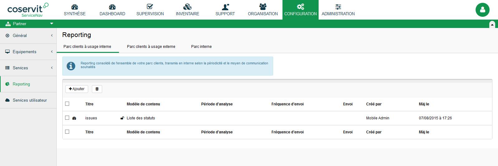 Configuration - Reporting - Dashboard - Liste - parc client