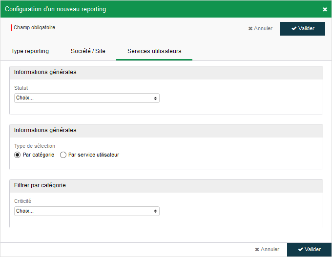 Configuration - Reporting - SUT