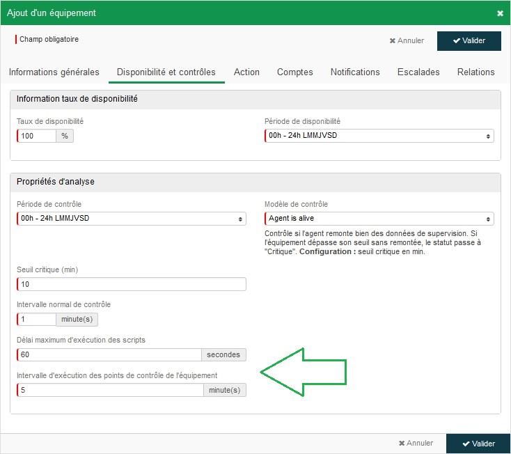 Equipement - Configuration agent - Dispo