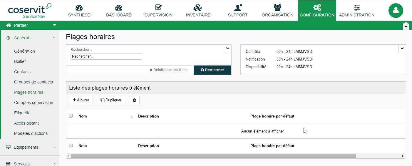 ServiceNav - Configuration - Plage horaire