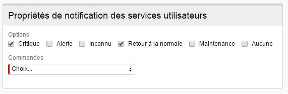 ServiceNav -Contact - Propriétés de notification des services utilisateurs