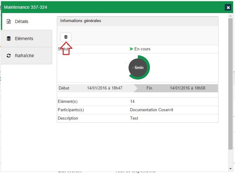 ServiceNav - Maintenance - Suppression depuis la fiche de détail