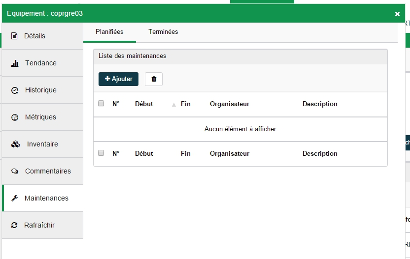 ServiceNav - Maintenance - création depuis l'onglet maintenance d'un équipement