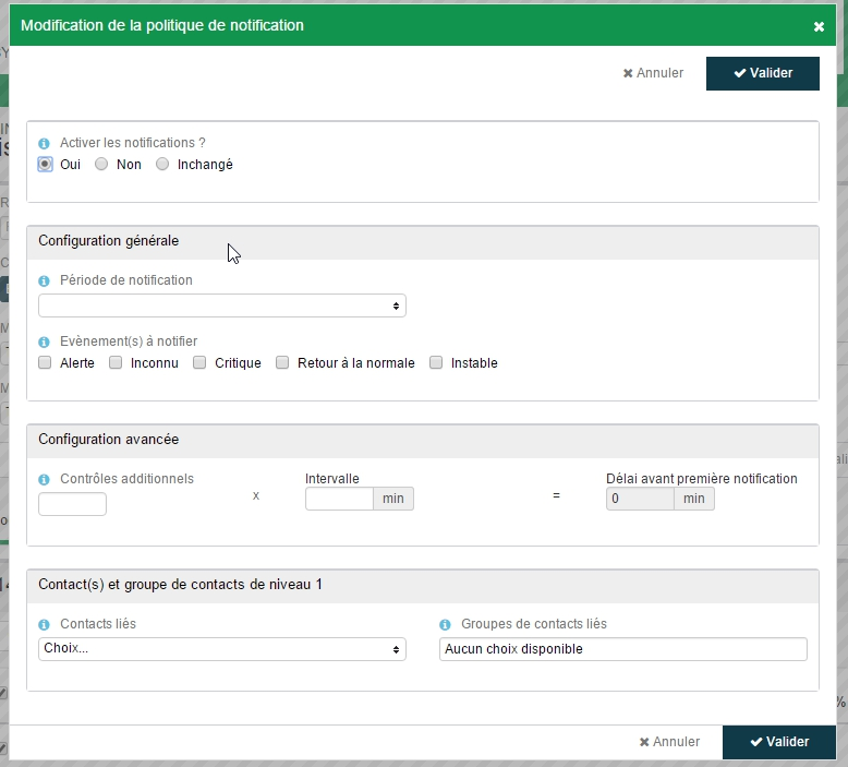 ServiceNav - Service Unitaire - configuration de la notification en masse