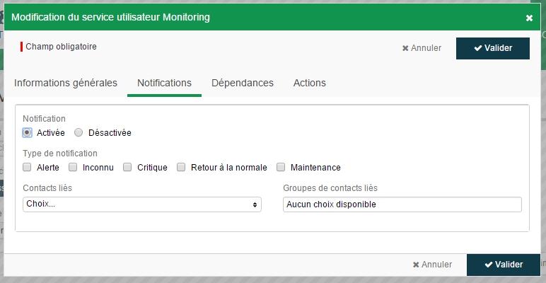 ServiceNav - Services utilisateurs - configuration de la notification
