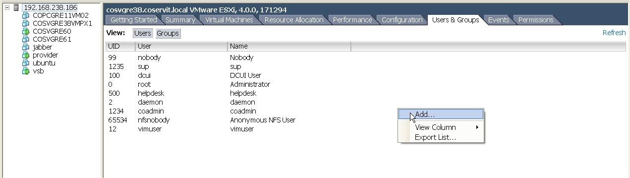 ServiceNav - VMware - ajouter un utilisateur