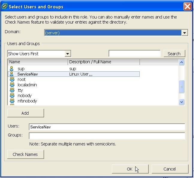 ServiceNav - VMware - validation de l'utilisateur sur lequel on souhaite appliquer ces droits en lecture seule