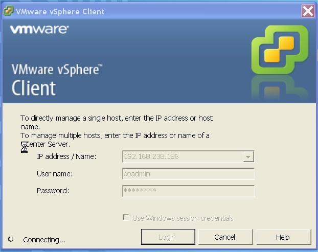 ServiceNav - VMware - Connexion au vShpere