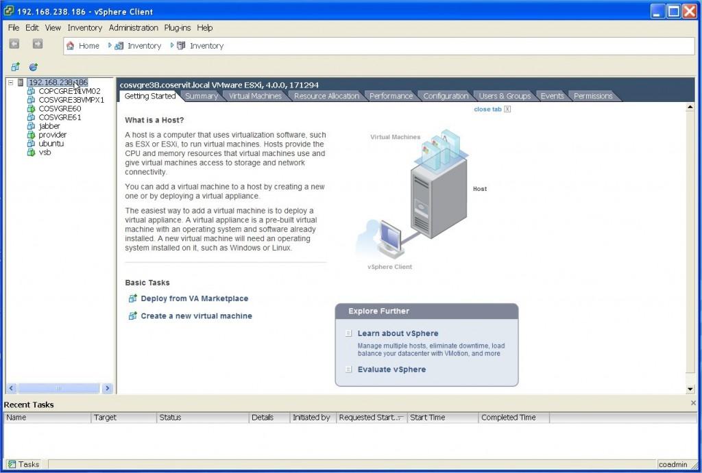 ServiceNav - VMware - sélection de l'hyperviseur