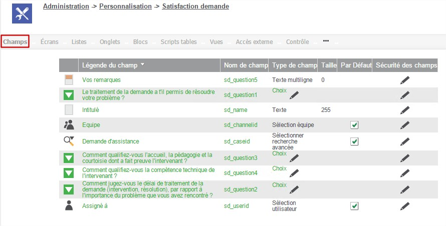 Administration - Champs - Satisfaction demande