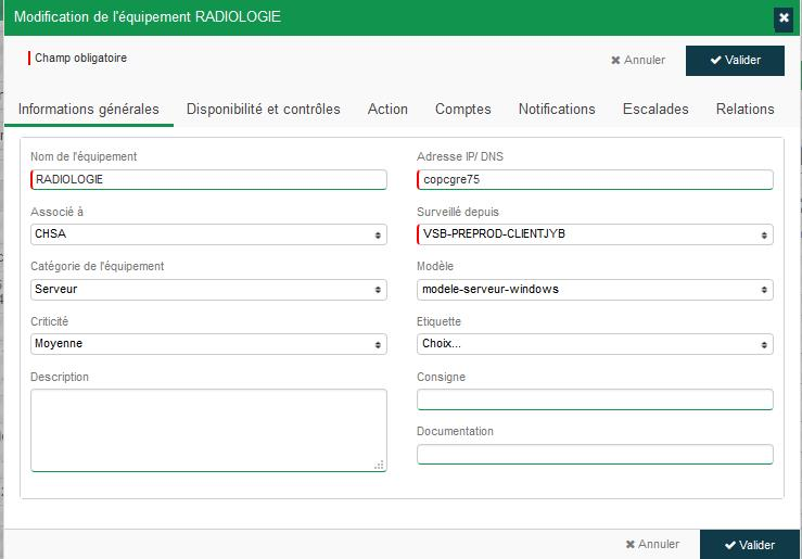 Configuration notification équipements  services
