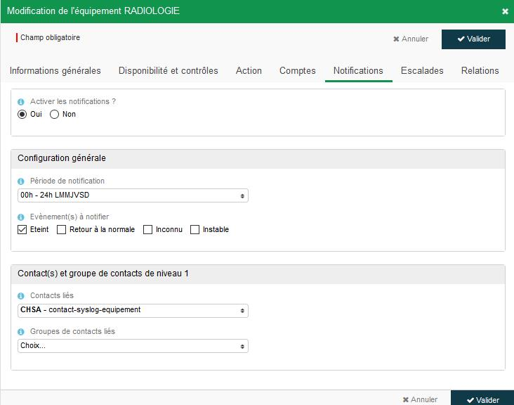 Configuration notification équipements services 2